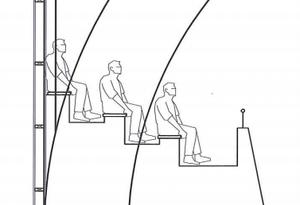 Läktare mellan limträbågar. Skiss Björn Eström Arkitekt, 2013.