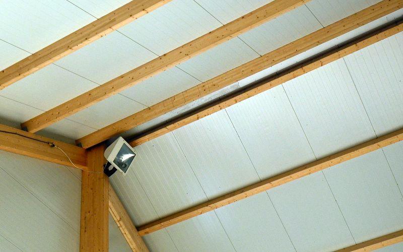 Undersidan av tak i hallbyggnad med stomme av limträ. Limträåsarna sitter tätt intill nocken. Foto Anders Ehrlemark